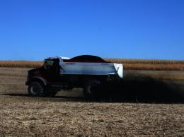 Biochar is applied to Laird's research plots at the Armstrong Research and Demonstration Farm near Lewis. Courtesy of Iowa State University College of Agriculture and Life Sciences