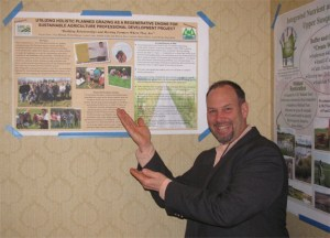 Troy shows the poster created for this project. It wouldn't have been possible without the help of many farmers and a great team made up of