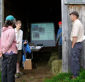 Barns make great places to gather for presentations.  A few hay bales for seating, a screen and a projector and you're ready to go.  It's a lot more fun than a regular meeting room!