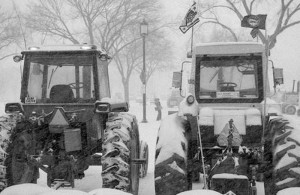 "The blizzard during the AAM's Tractorcade on President's Day in 1978 was an opportunity for farmers to build goodwill for their cause as they dug the nation's capital out using the tractors they'd driven in for their protest. Photo courtesy of the Smithsonian Institute, via Modern Farmer's article ""When Tractors Invaded D.C."""