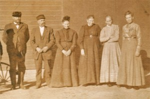 Kathy's great-grandpa Voth is second from the left.  Her great-grandma is standing next to him.