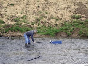 Sling pump operating in stream.