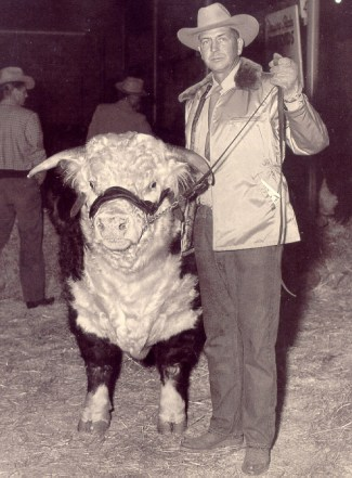 Conrad Warren of Montana's Grant-Kohrs Ranch (now a National Historic Site) is shown here with his prize bull, T.T. Triumphant, purchased for a record $32,500 in the 1940s. The result of years of inbreeding, the bull carried the dwarfism gene that nearly destroyed the hereford breed.