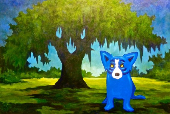 "Almost forgot to show you the Blue Dog.  Not always blue, the dog is artist George Rodrigue's interpretation of the Cajun werewolf or ""loup-garou."" One of his son's runs the Blue Dog cafe in Lafayette.  Great food and walls and walls of blue dog paintings.  Don't miss it if you stop in Lafayette, Louisiana!"