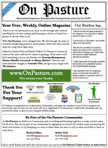 Click to download this flyer. Print it out (black and white is fine!) and share it with others to help us grow the On Pasture Community.