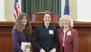 Amy Jones of the Maine Association of Professional Soil Scientists, me (Natalie), and Joan Welsh, the sponsor of this resolution with our I heart soil stickers at the State House!