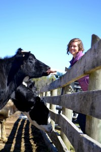 Rebecca Brown, director of the program, with some of her colleagues at Wolfe's Neck Farm.