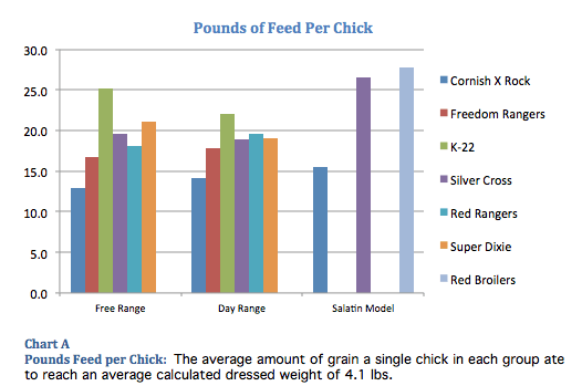 Pounds of feed a chicken eats