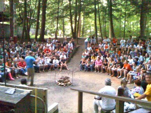 Story telling at summer camp, before the fire is lit.