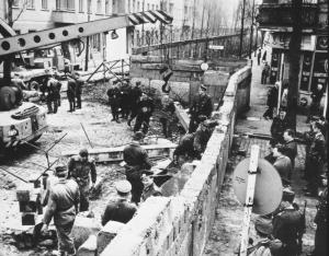The Berlin Wall being built in 1961.