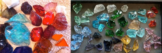 Waste glass (also called Cullet glass) on the left. Andara crystals on the right.