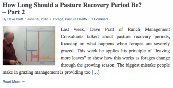 """This week he applies his principle of """"leaving more leaves"""" to show how this works as forages change through the growing season."""