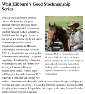 This picture links to a special collection of articles on low-stress livestock handling by Whit Hibbard
