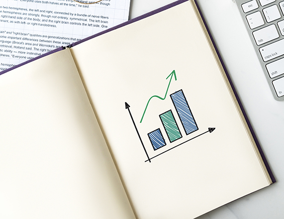 A business graph on the book