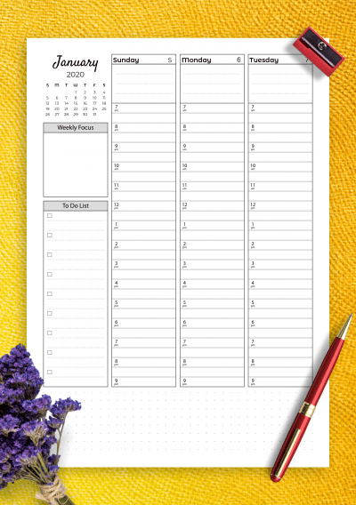 Download Printable Weekly Hourly Planner With Todo List Pdf