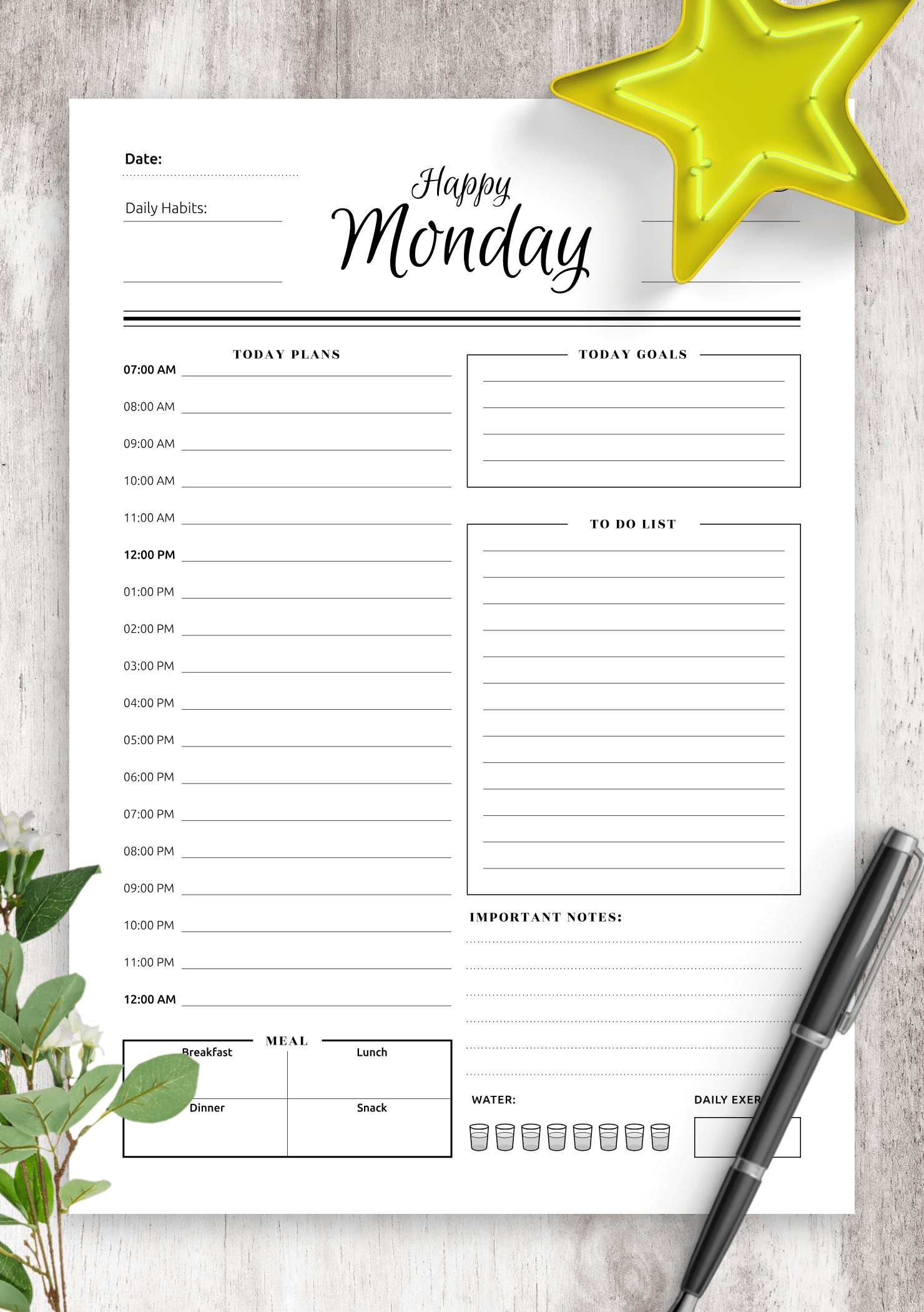 Download Printable 7 Happy Days Planner Template