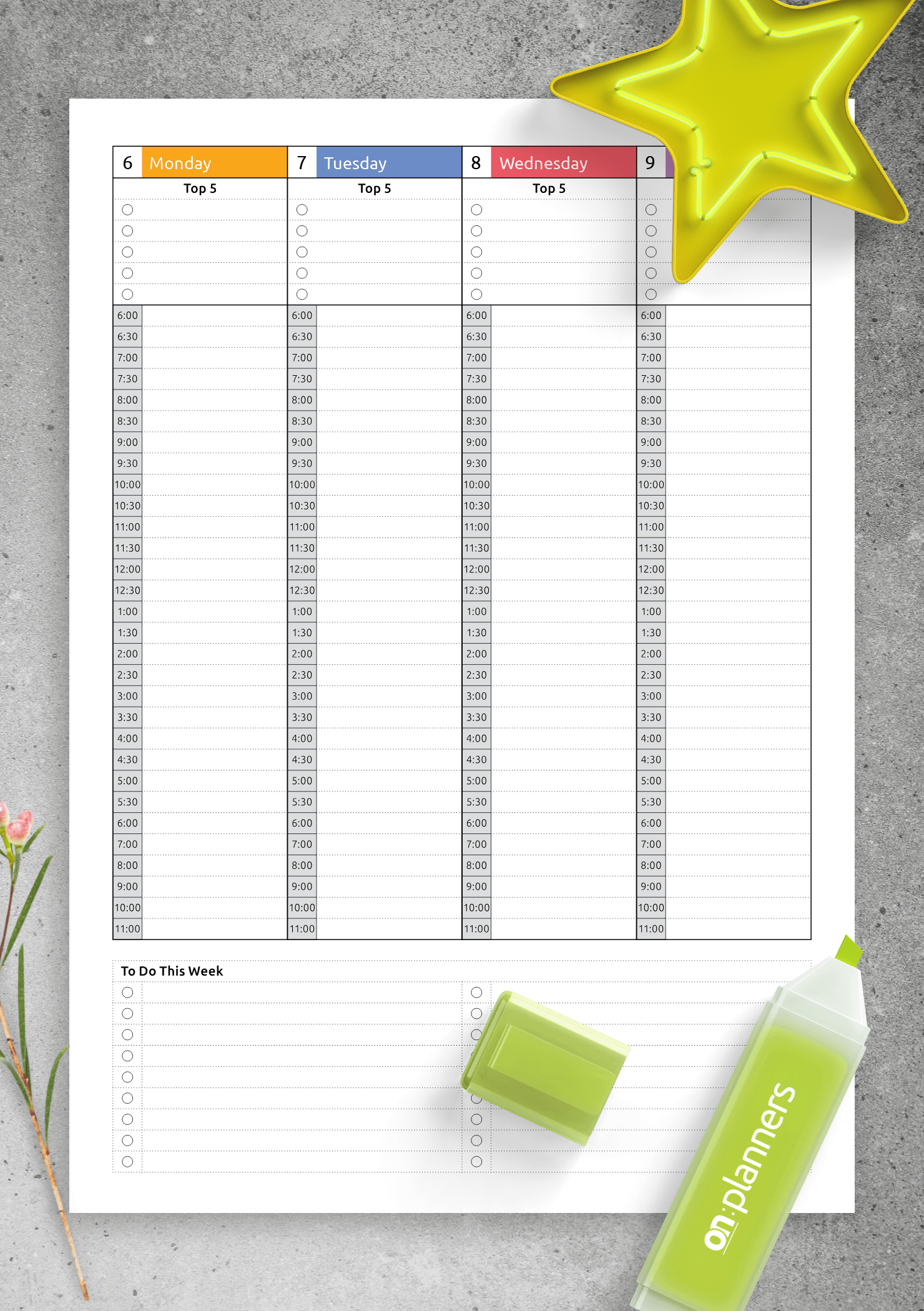 Download Printable Colored Weekly Hourly Planner Dated
