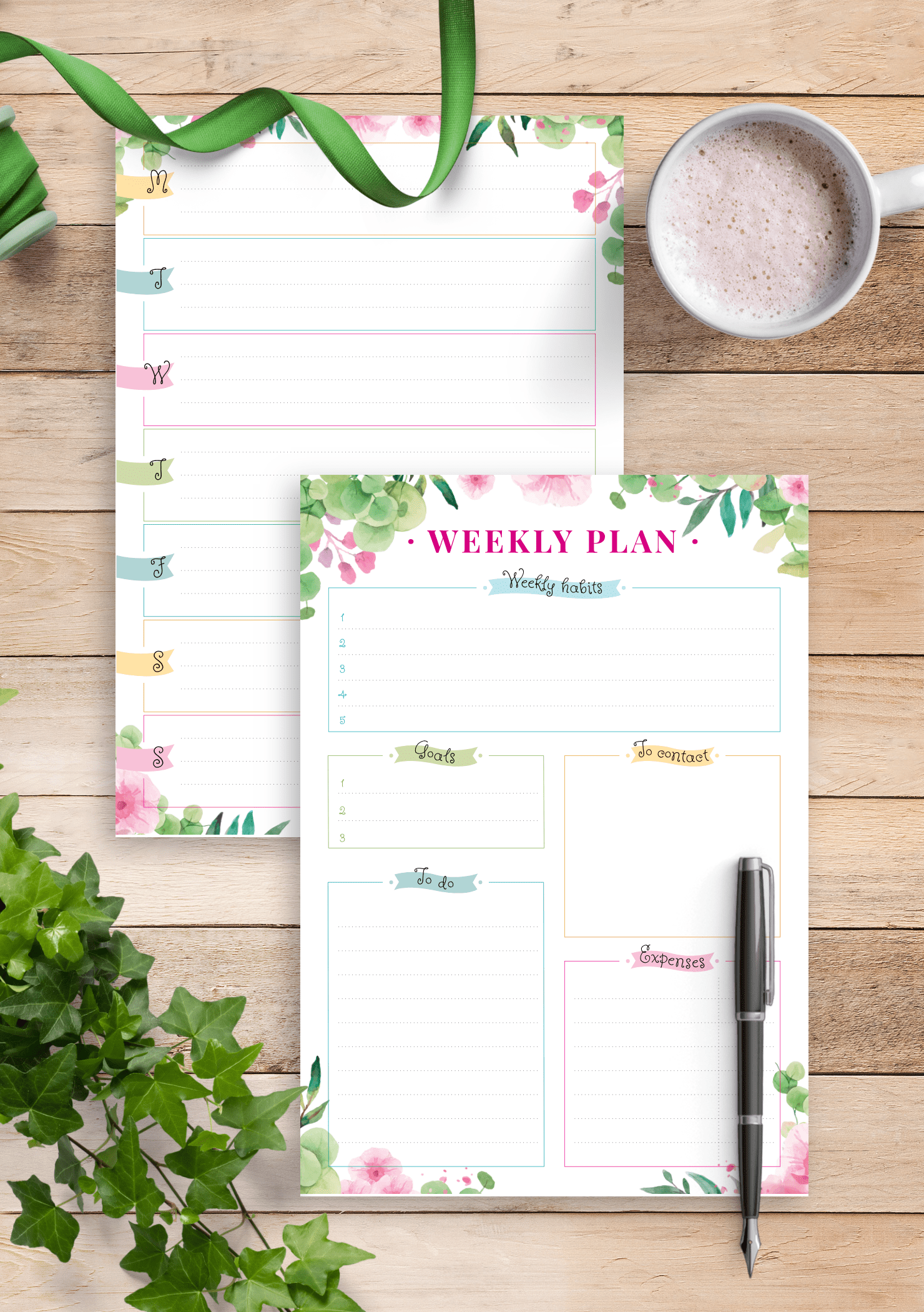 Download Printable Floral Week On Two Pages