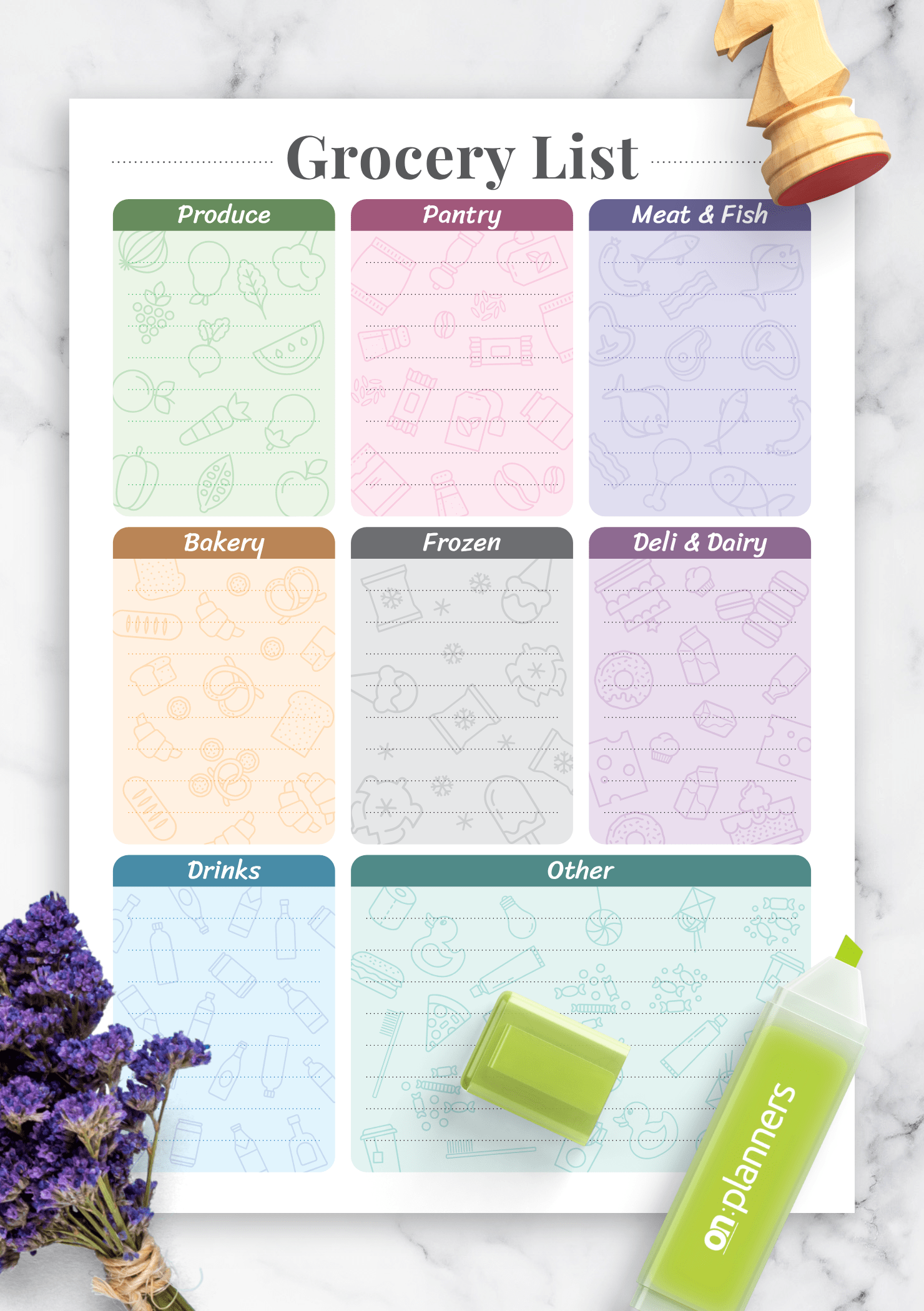 Download Printable Grocery List Template