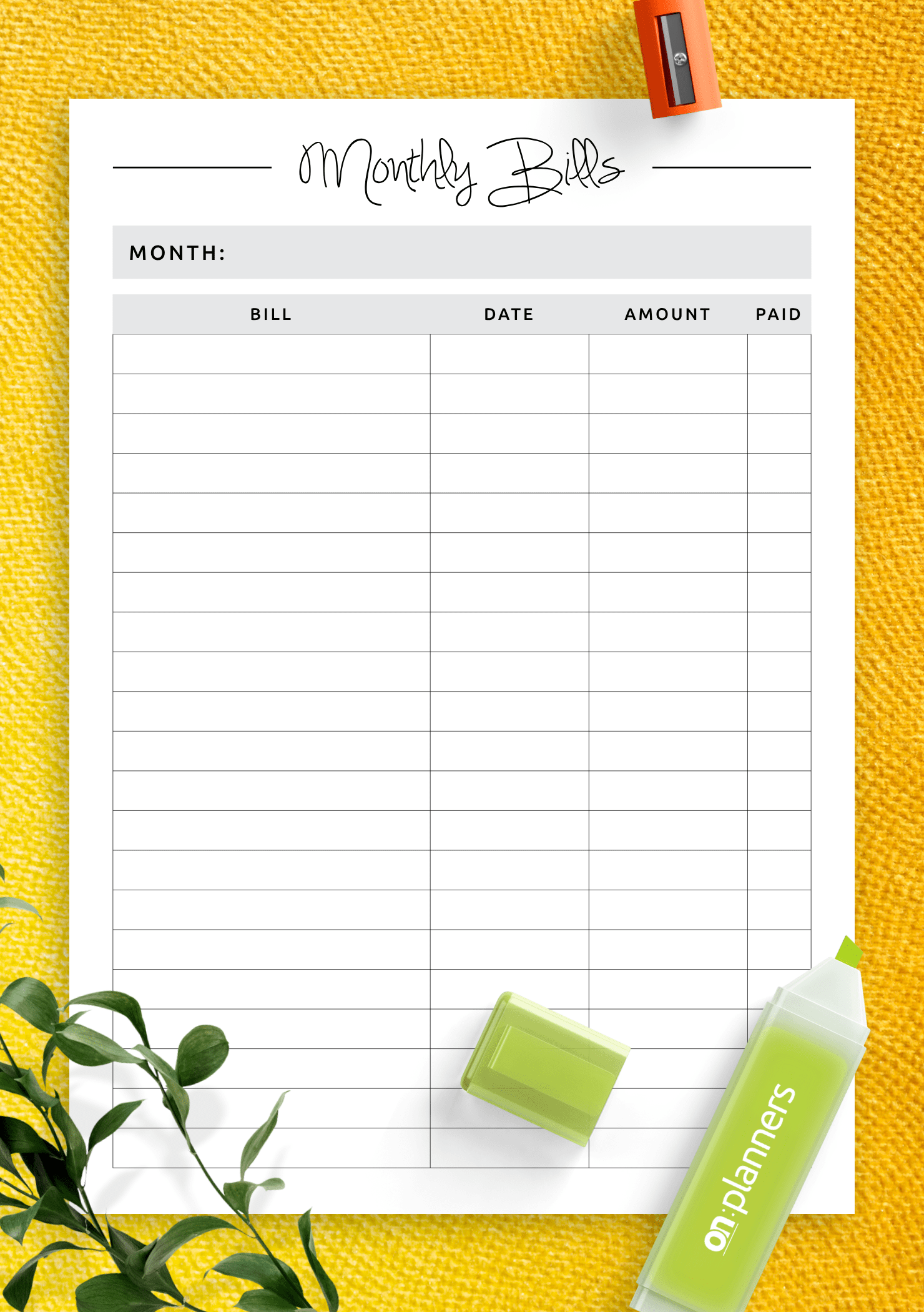 Download Printable Simple Budget Template
