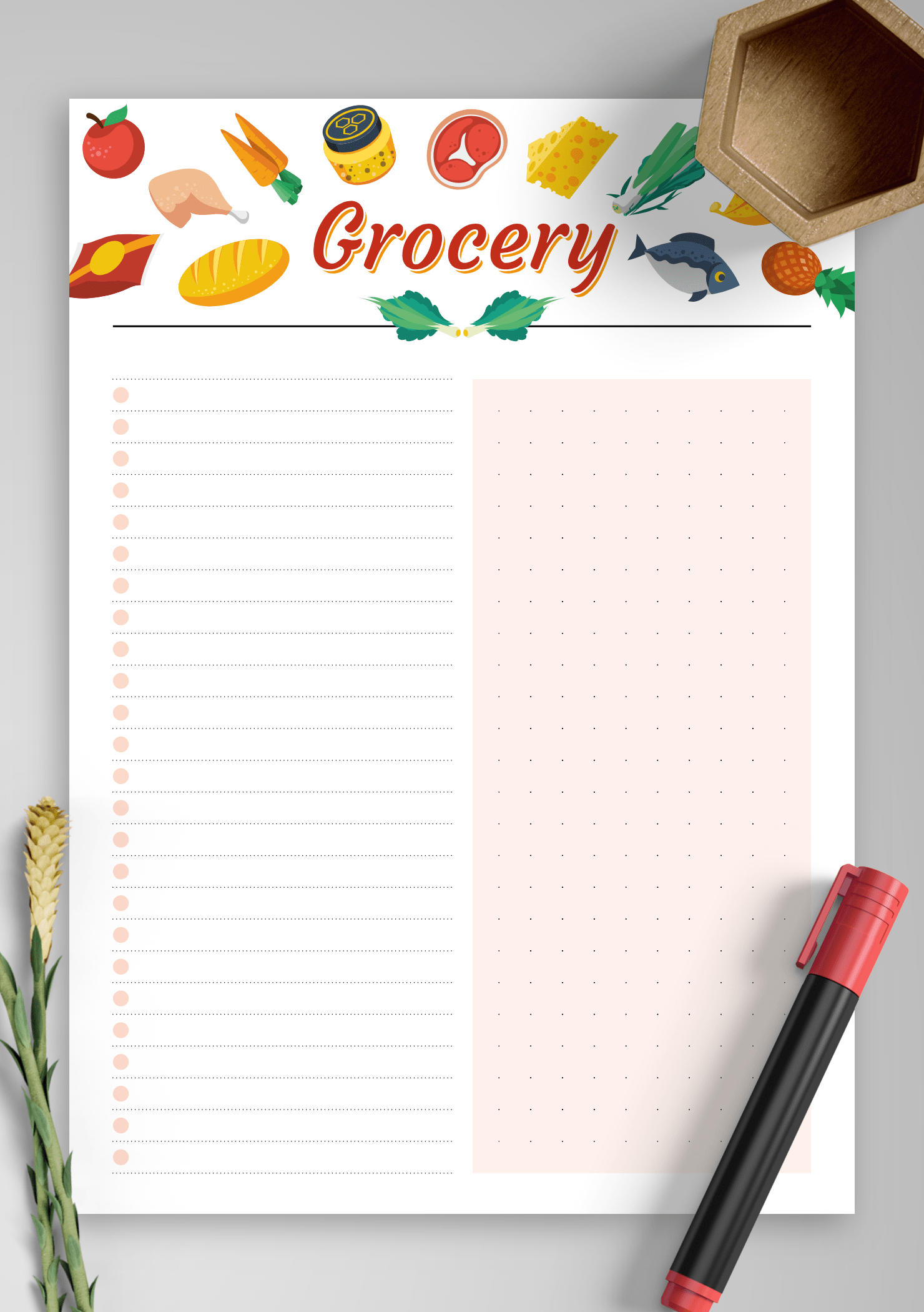 Download Printable Simple Colourful Grocery List