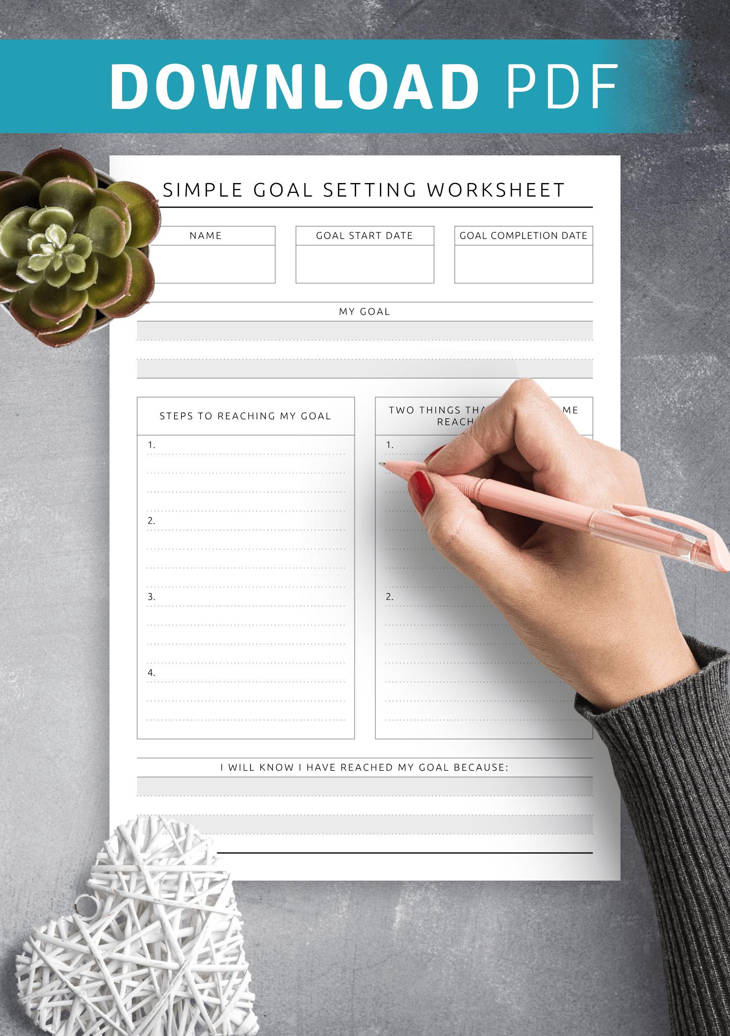 Download Printable Simple Goal Setting Worksheet