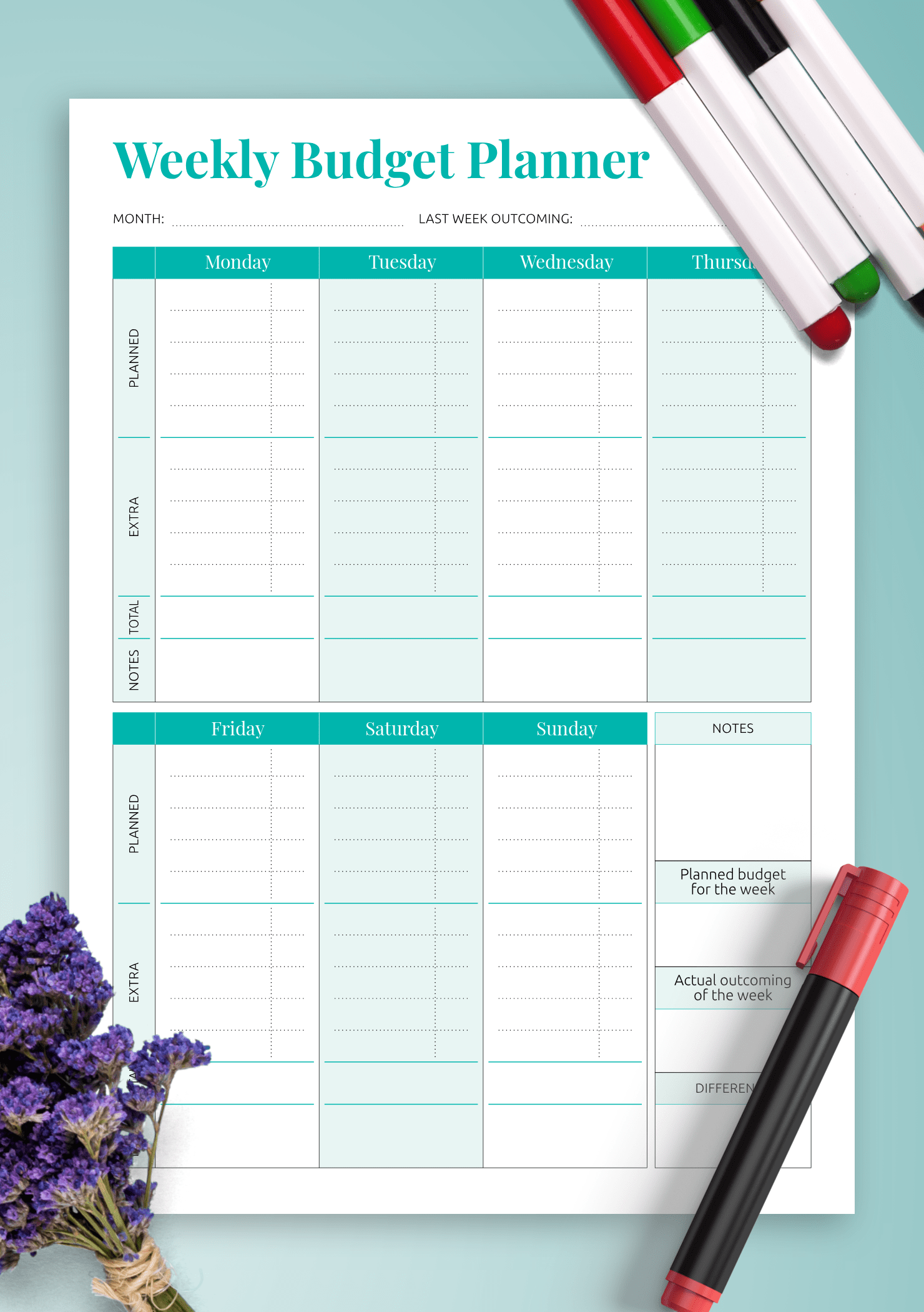Free Weekly Budget Template Download
