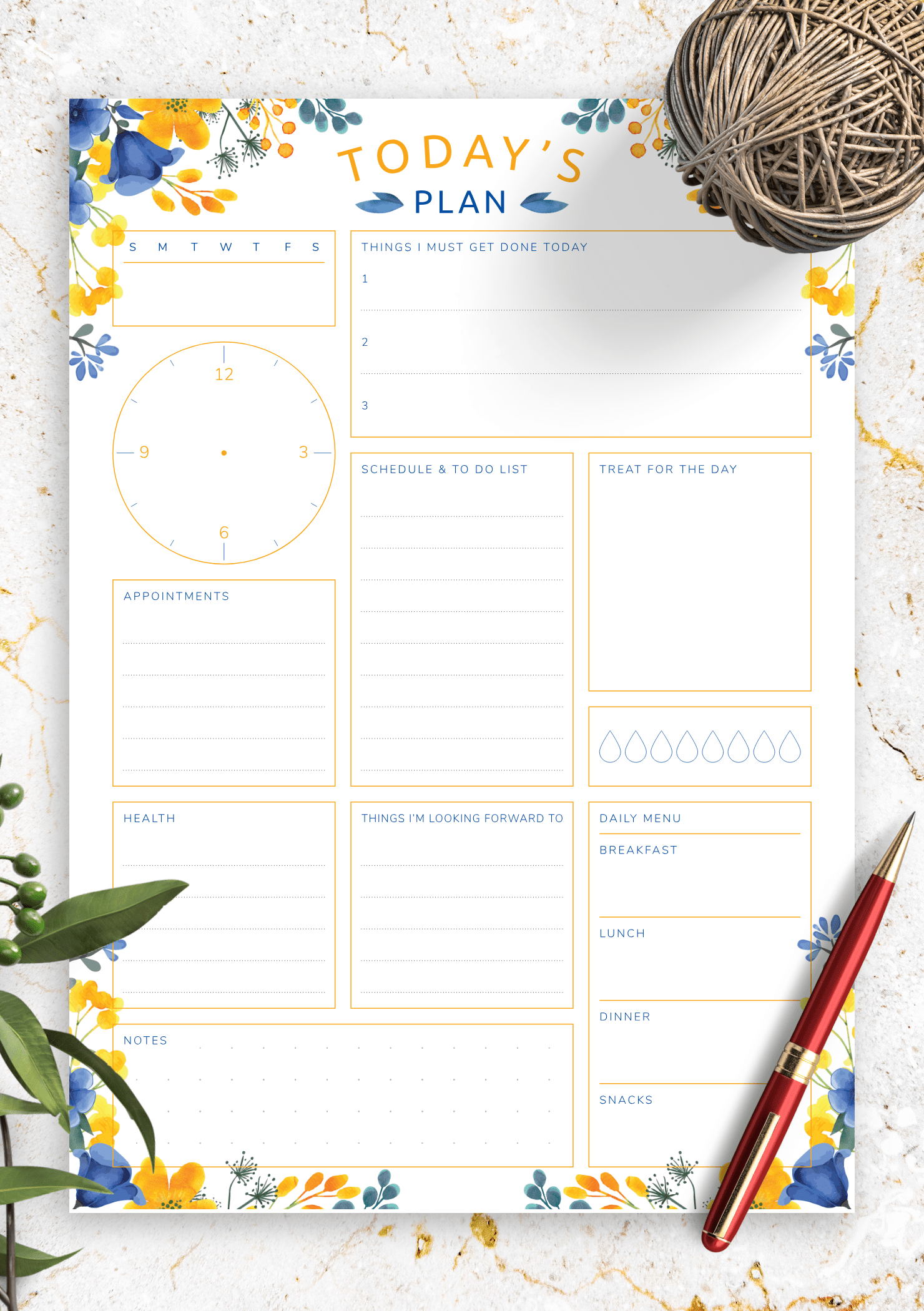 Download Printable Today S Plan With To Do List Schedule Pdf