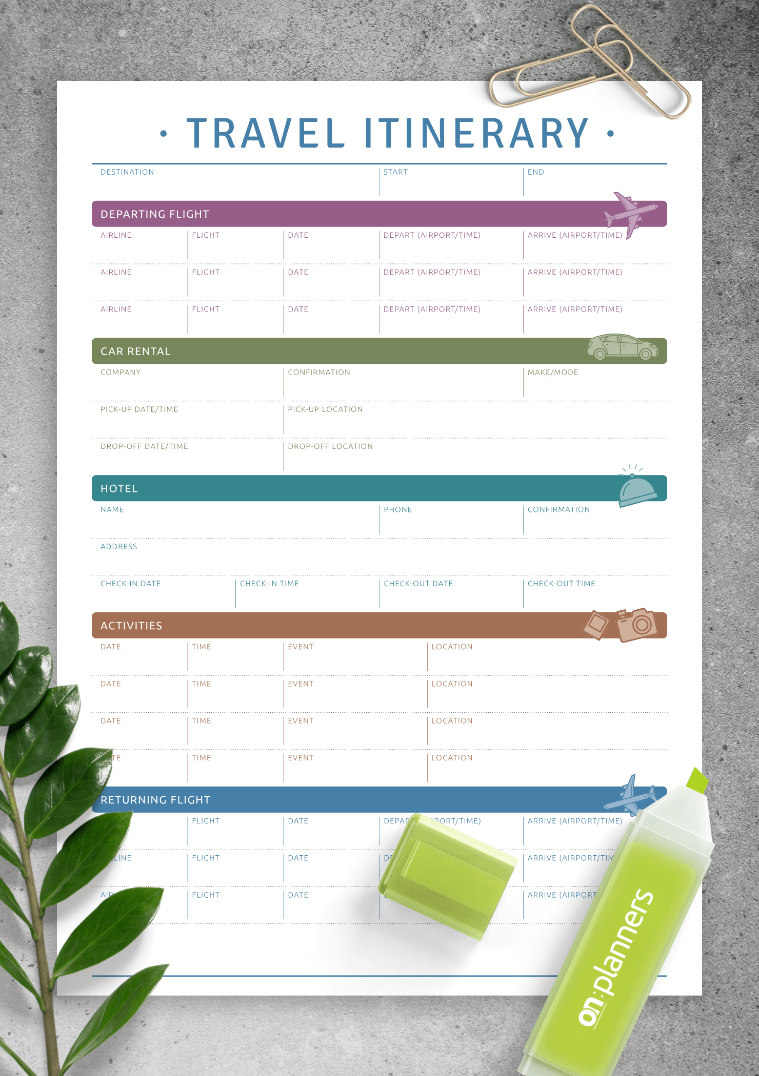 Download Printable Travel Itinerary