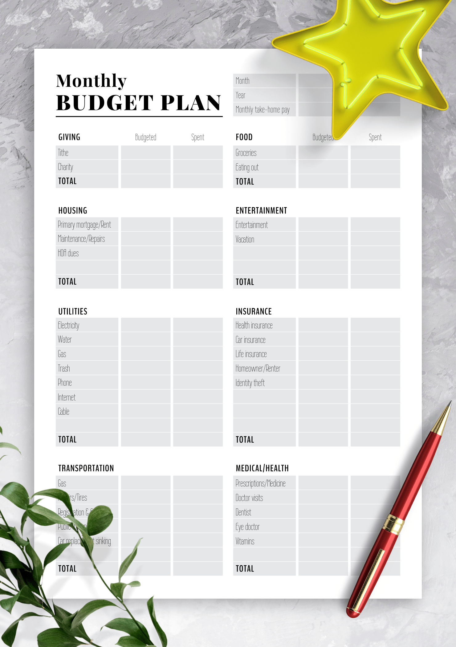 Download Printable Two Pages Monthly Budget Plan