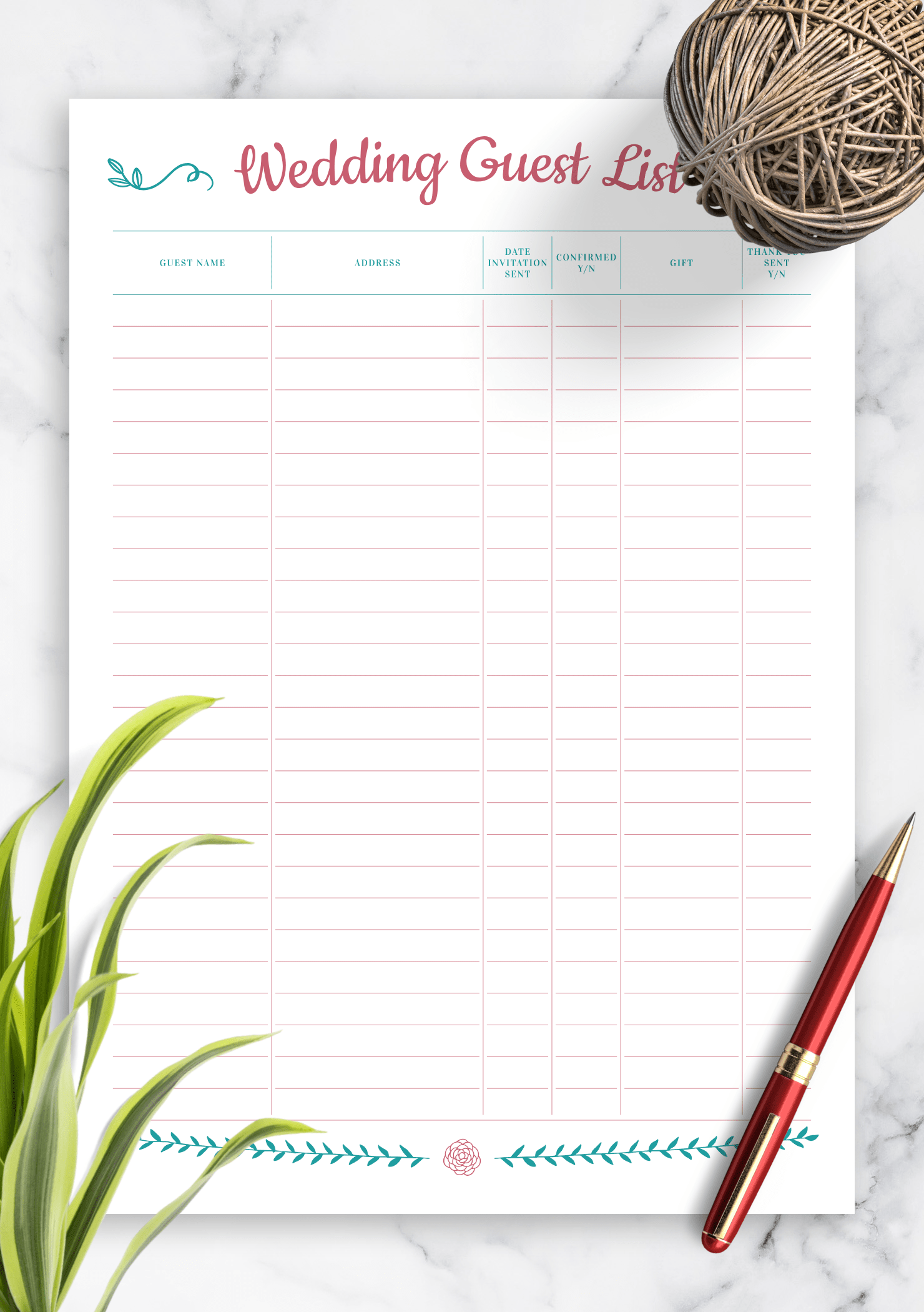 Download Printable Wedding Guest List With T Section