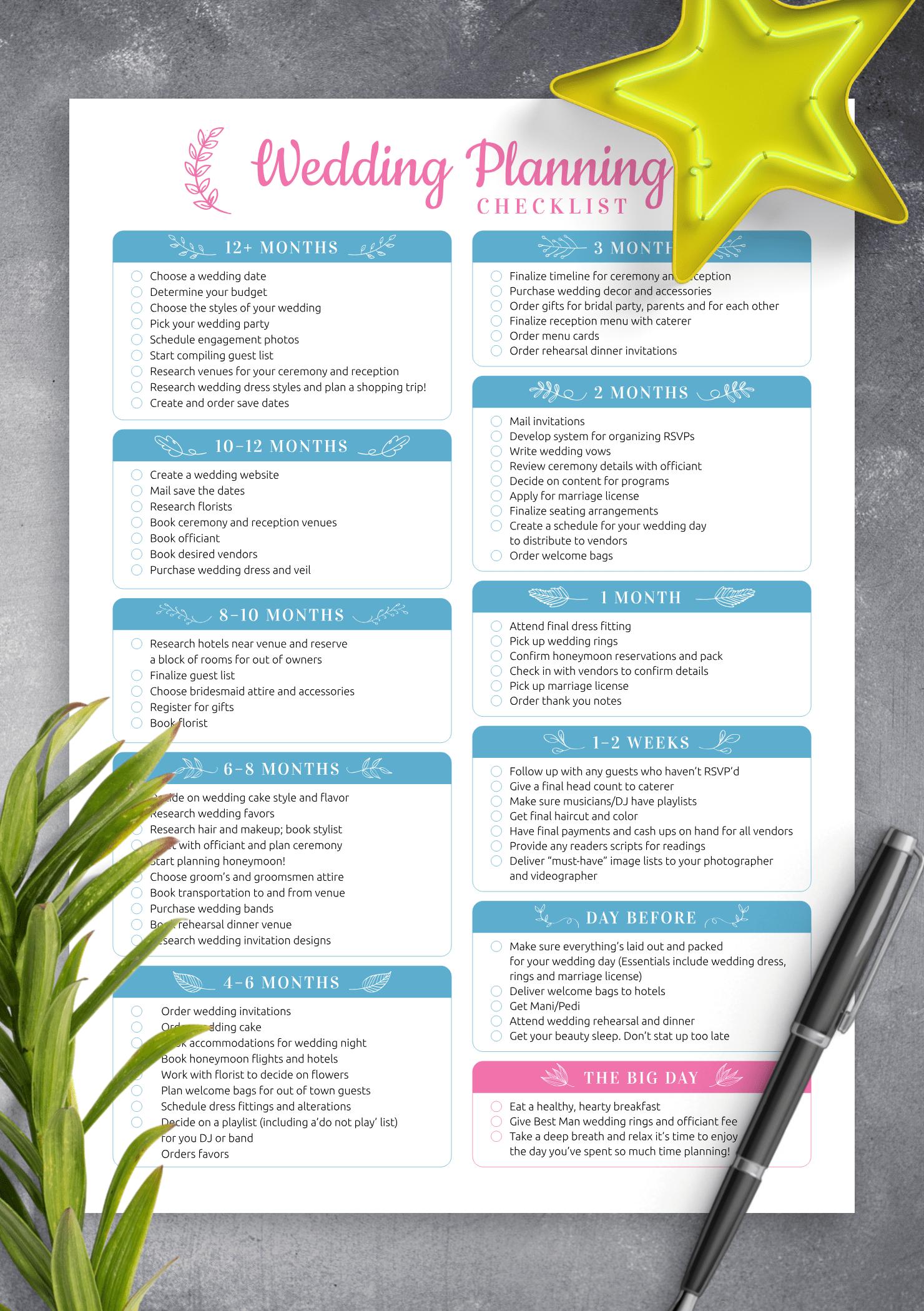 Download Printable Wedding Planning Checklist