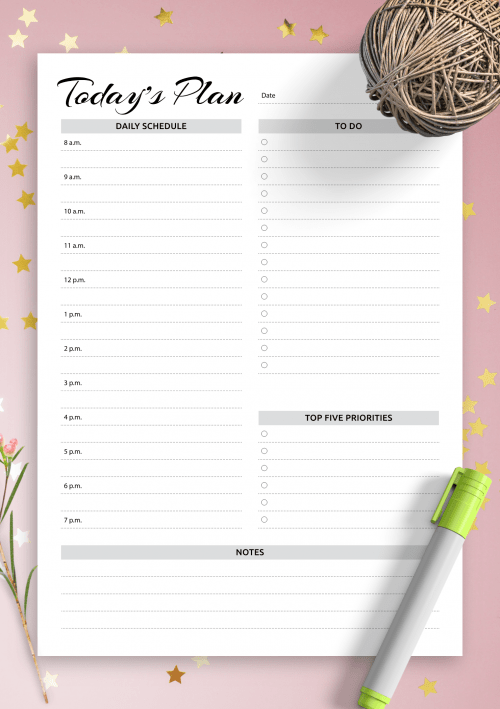 Daily Todo List Templates