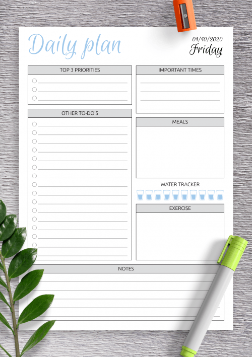 Daily Planner Templates Printable Download Pdf