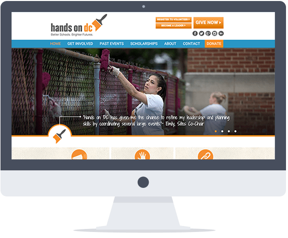 The rotating carousel on the home page allows the organization to feature several of their many work-a-thon photos.