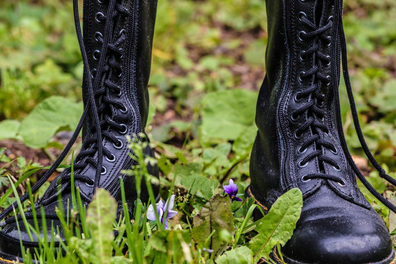 Close up of a pair of black lace-up boots. Photo.