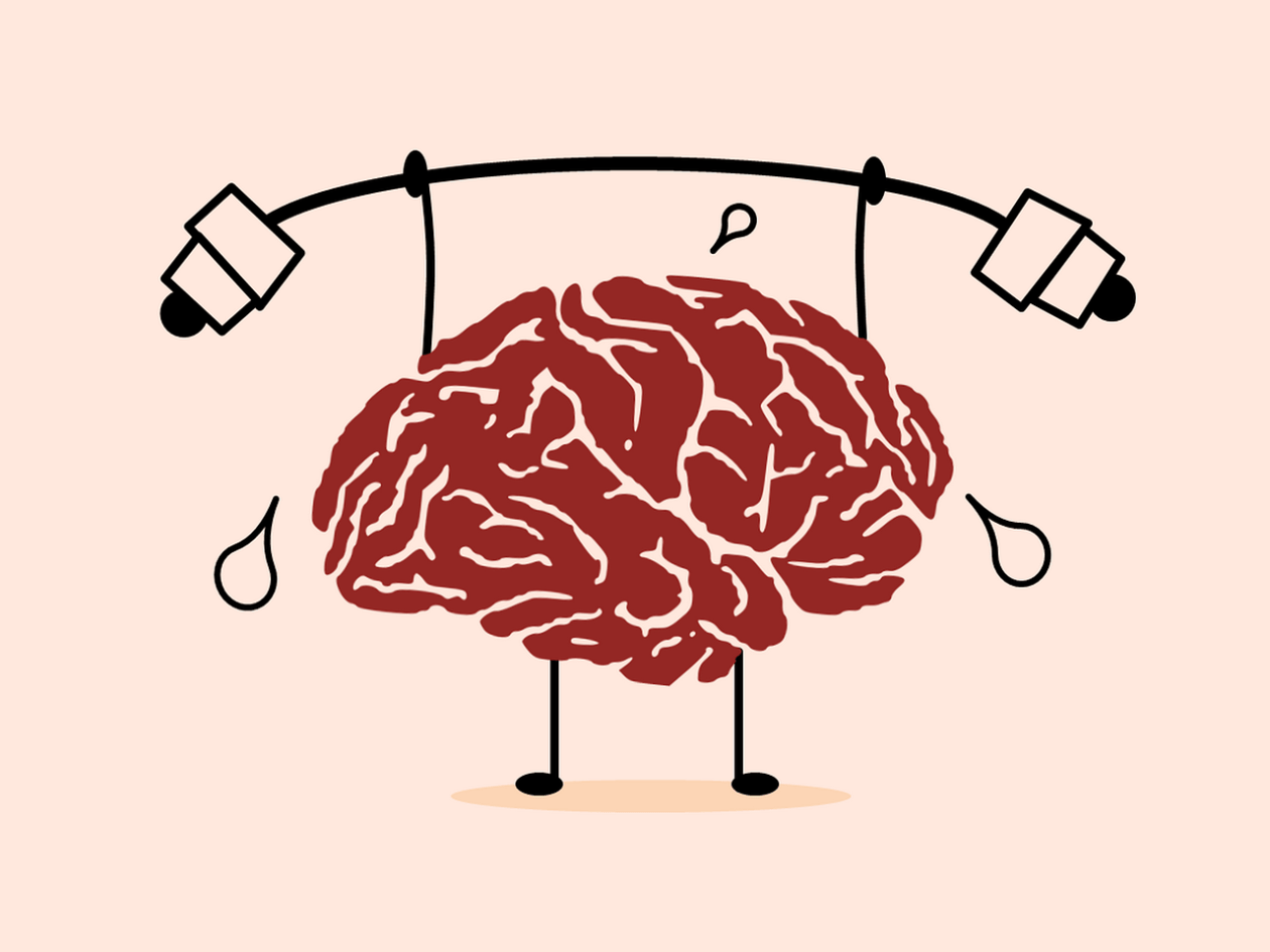 A brain works hard to life some weights. Illustration.