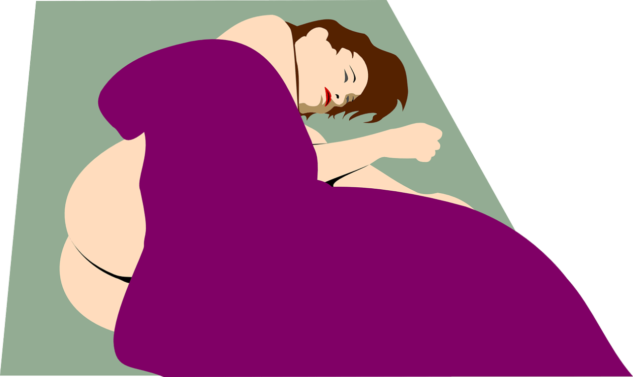 Naked woman partially hidden with a blanket. Drawing.