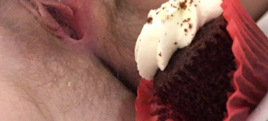White sheets, a red velvet cupcake, and my pink cunt