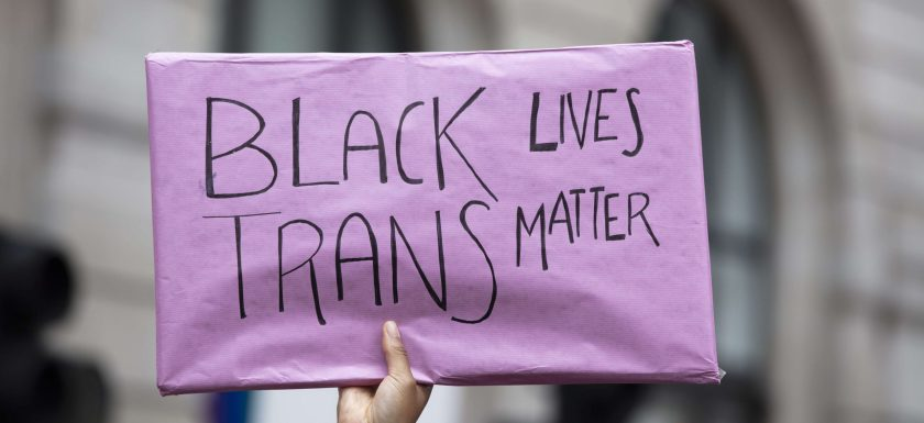 A pink 'black trans lives matter' sign is held up at a pride protest. Photo.