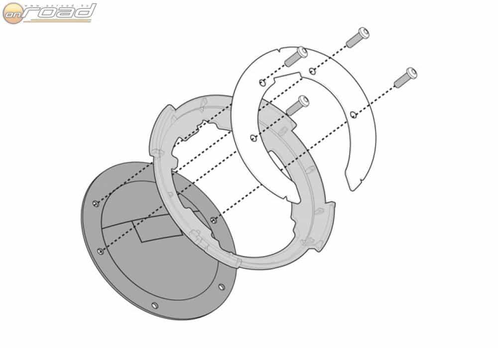 A Kappa Tanklock sem karcolja össze a tankot, de nem is takarja el: itt egy adapter tartja a táskát