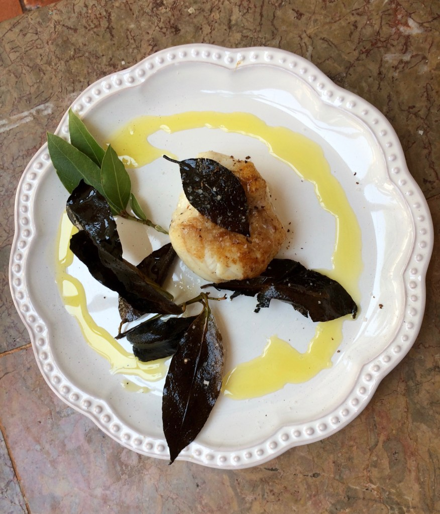 Grilling with a grill - Monkfish with bay leaves