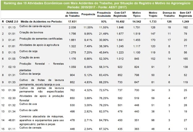 ranking 15 atividades economicas com mais acidentes do trabalho