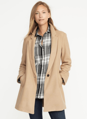 Wool-Blend Everyday Coat for Women, $59