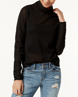 Semi-Sheer Turtleneck, $34.99