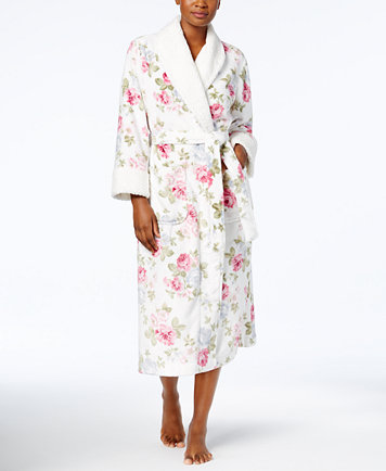 Petit Long Printed Contrast Robe, $23.99