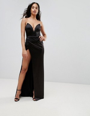 Club L Plunge Front Bandeau Maxi Dress With Thigh Split, $50