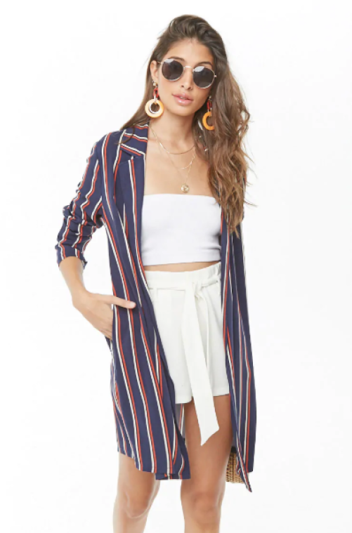 Striped Open-Front Jacket, $14
