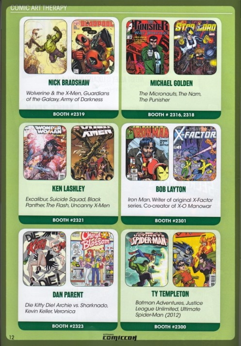 Ottawa Comiccon Artist Alley List