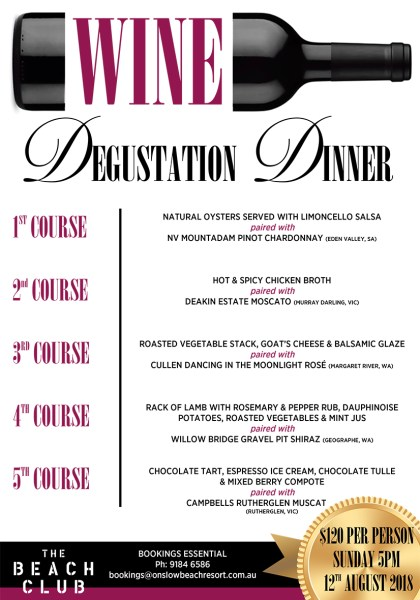 wine degustation dinner onslow karratha exmouth hedland pilbara north west